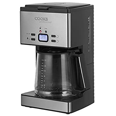 Cooks Professional Electric Filter Coffee Machine Programmable Digital Display with 24 Hour Timer, 10 Cup Capacity 1000W (15 Cup Capacity)