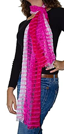 Multicoloured,Pink, Cotton Patterned Scarf/Shawl, available in a range of colours - Fair trade in Guatemala