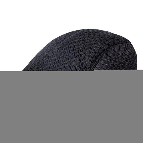 Lawevan Unisex Women Men British Style Hollow Flat Hat Noir