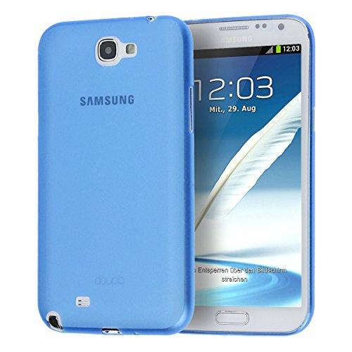 doupi UltraSlim Custodia per Samsung Galaxy Note 2, Satinato fine Piuma Facile Mat Semi Trasparente Cover, Blue
