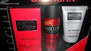 coffret masculin ouragan 3 pces avec deodorant,eau de toilette et gel douche