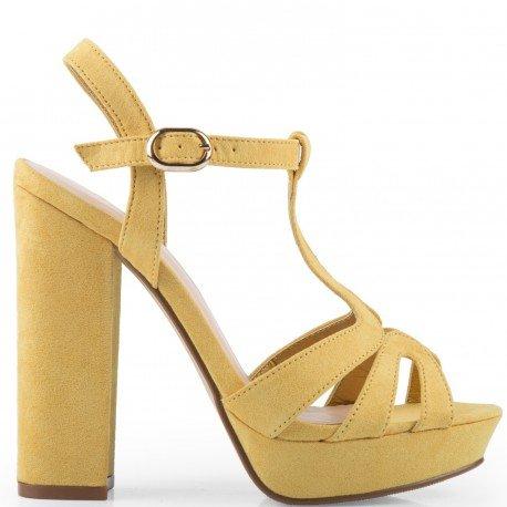 Ideal Shoes - Sandales à plateforme effet daim Delila Jaune