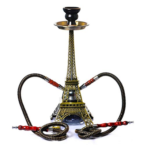 Shisha Vidrio Hookah Cachimba Kit Set, Forma de La Torre Eiffel 2 Shisha Mangueras para 2 Personas con Tubo Cazoleta Cerámica Shisha Bowl Pinza de Carbó