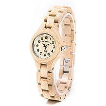 wrsit orologio di legno di acero, piccolo bracciale orologio al quarzo orologio cofanetti leggero colore beige BEWELL W123A, orologio moda desinger donna