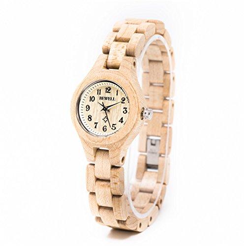 Bewell Damenuhr Handgemachte Natürliche Hölzerne Armbanduhr Mode Quarzwerk Analoguhren Casual Stil für frauen W123A (Beige 1) (1 Holz Frei)