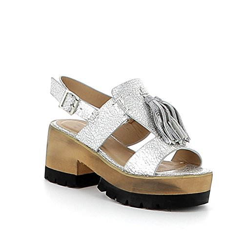 Sandale à plateau cranté avec pompons Argent