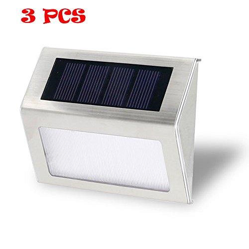 Loveusexy Solar Step Lights 3 LED Solar Powered escalier éclairage extérieur pour les marches chemins patios terrasses étanches 3PCS