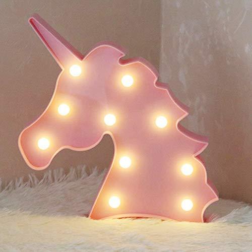 Lámpara de mesa con forma de unicornio 3D Aizesi, estilo marquesina, funciona con pilas, para decorar...
