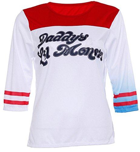 n Mädchen Daddy's Lil Monster T-Shirt Top Halloween Kostüm UK Gr. S/M 34-36, Harley Quinn T-Shirt ()
