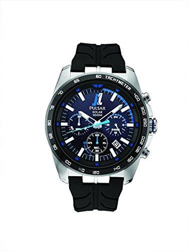 Pulsar pz5053Unisex Negro Cronógrafo Dial reloj de cuarzo banda azul