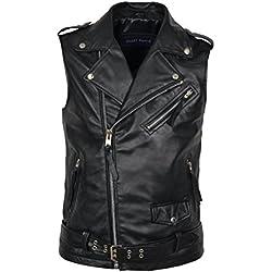 Chaleco de cuero para hombre 1025, color negro, estilo motero, steampunk, cuero de cordero