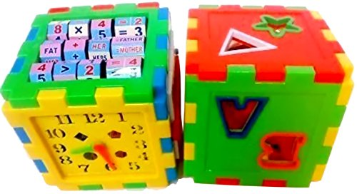 Sunshine Educational ALL in ONE Blocks set - Multi-skill: Colors, Counting, ABC, Maths, Clock, Blocks, Puzzle and much more - Set of 2