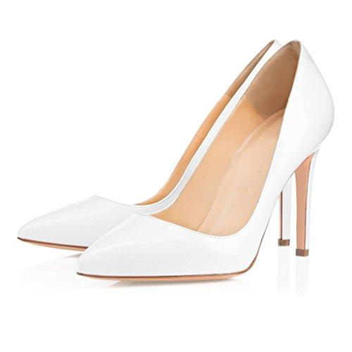 EDEFS - Escarpins Femme - Stilettos Chaussures - Talon aiguille - Bout Pointu Fermé - Bureau Soiree Mariage Pumps Blanc