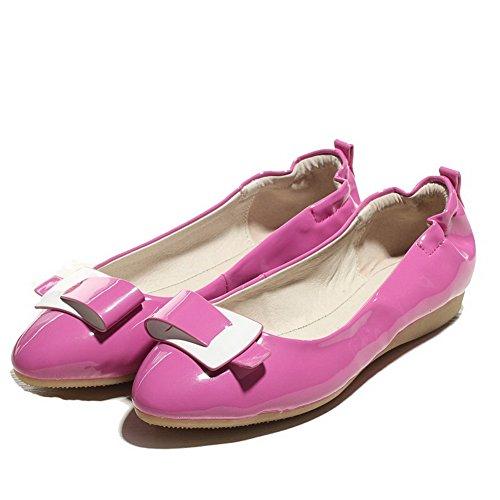 VogueZone009 Damen Ohne Absatz Rein Ziehen Auf Weiches Material Spitz Zehe  Flache Schuhe Rosa ...