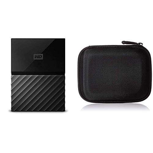 WD My Passport 2TB Portable Hard Drive and Auto Backup Software for PC, Xbox One and Playstation 4 - Black & AmazonBasics Festplattentasche, schwarz