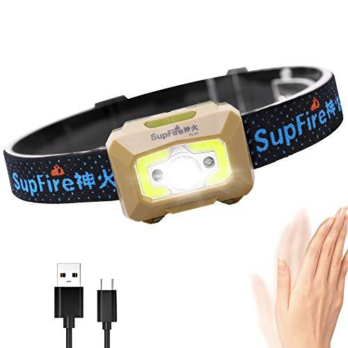 Supfire LED Stirnlampe Kopflampe Super Helle Taschenlampe 500 Lumen CREE Scheinwerfer mit Rotem Licht und Temperatur Schalter,Aufgeladen mit USB Kabel Direkt,5 Modi für Camping Radfahren,Modell HL09