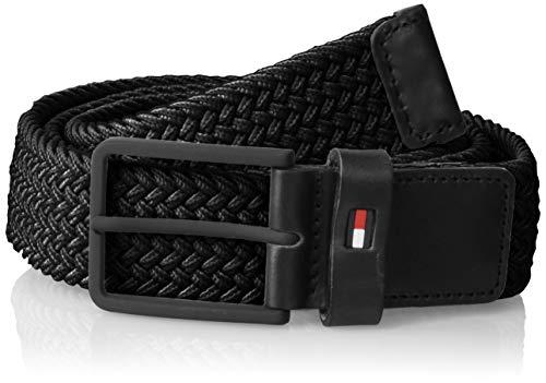 Tommy Hilfiger Solid Modern Elastic Belt 3.5, Cintura Uomo, Nero (Black 002), 8 (Taglia Produttore: 100)