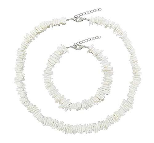 mcrosfdd Hawaiian Puka Chip Muscheln Halskette verstellbar Kordel Handarbeit Wakiki Strand Choker Halskette (3 Stück)