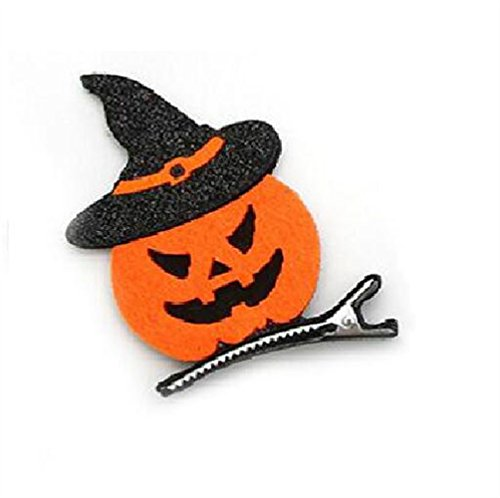 rolypolybaby Mädchen Kopf Accessoires Haarband Halloween Hairclips Kinder Cartoon Kürbis Haarspange für Cosplay Party Dekorationen (Schwarz + Orange)