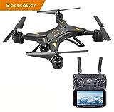 LENRUE Drohne Für Kinder, Air Base FPV WI-Fi-Drohne mit Kamera 720P HD, 20 Minuten Akkulaufzeit Echtzeit-Video-Feed, Große Drohne Für Anfänger, Quadcopter mit Höhenlage, Faltbare Arme (Schwarz)