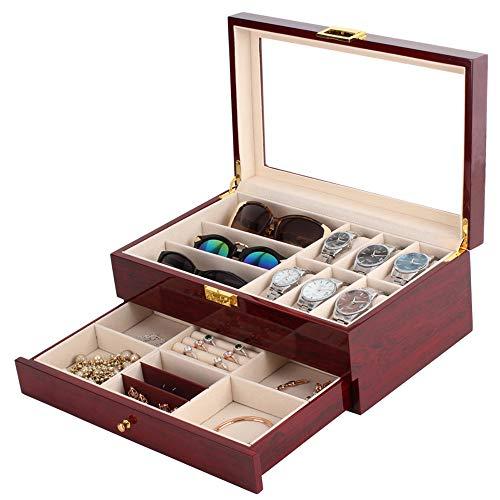 GNB Hölzerne Uhr Aufbewahrungsbox Uhrengehäuse Schmuck Display Organizer für 6 Uhren & 3 Sonnenbrillen Eyewears mit Juwel Schublade - Uhrengehäuse Sonnenbrille Und