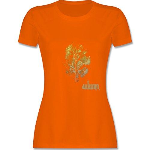 Blumen & Pflanzen - Herbstblatt - autumn leaf - tailliertes Premium T-Shirt mit Rundhalsausschnitt für Damen Orange