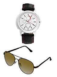 Orlando Casual Chronograph Look Analogue White Dial Black Leather Belt Mens Watch & BIG Tree Umber Brown Color - Gradient UV Protected Aviator Sunglasses Goggles Combo Set