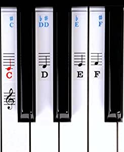 Symphony Pro Piano / Keyboard Stickers For Beginners For 49 / 61/ 76 / 88 Key Keyboards (Piano Stickers)
