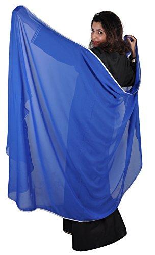 Egypt Bazar Bauchtanzschleier Bauchtanz Schleier Tanzschleier in verschiedenen Farben- halbrund (blau/silber)