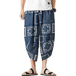 Mirecoo - Pantalones de Verano Estilo Bohemio Hippie de Pierna Ancha, de algodón, con Bolsillos Azul Azul 27-32