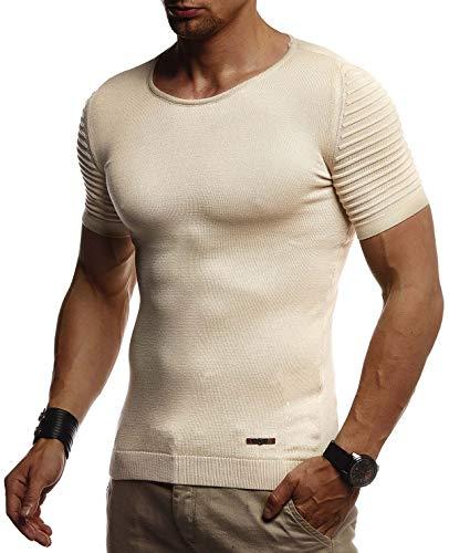 Leif Nelson Herren Sommer T-Shirt Rundhals Ausschnitt Slim Fit aus Feinstrick Cooles Basic Männer T-Shirt Crew Neck Jungen Kurzarmshirt O-Neck Sweater Shirt Kurzarm Lang LN20754 Beige Medium