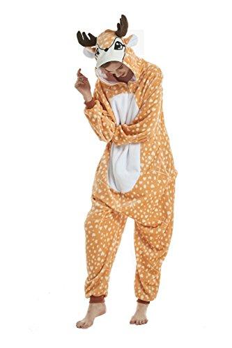 (heekpek Jumpsuit Tier Cartoon Fasching Karneval Halloween kostüm Erwachsene Unisex Cosplay Sleepsuit Pyjama Overall Kostüm (Gelber Elch, L:Geeignete Höhe 167-175cm))