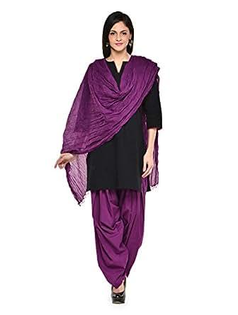 Stylenmart Women Cotton Solid Full Patiala Salwar Dupatta Set (Stmapa078603 _Purple _Free Size)