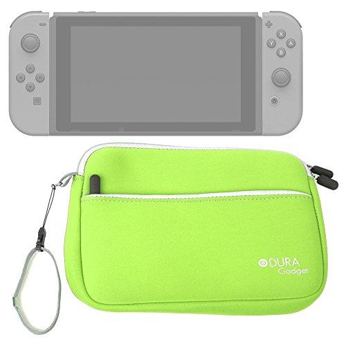 DURAGADGET Funda De Neopreno Verde Lima para Videoconsola Nintendo Switch - con Bolsillo Exterior para Guardar Más Objetos