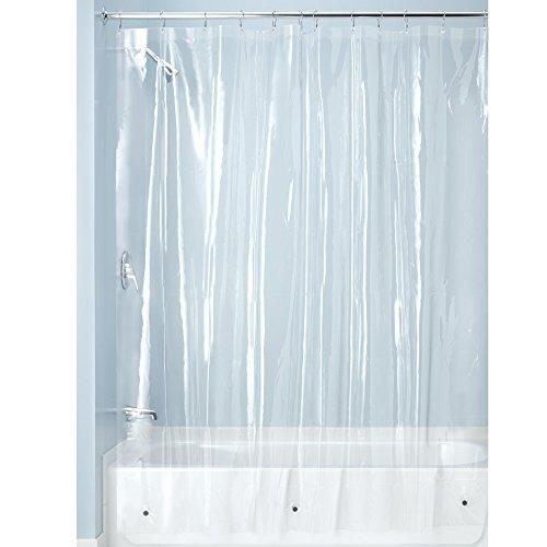 iDesign Duschvorhang aus Stoff, schimmelresistenter Badewannenvorhang aus Polyester in der Größe 180,0 cm x 200,0 cm, wasserdichter Vorhang mit 12 Ösen, durchsichtig -