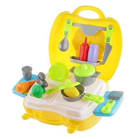MagiDeal 26pcs Küche waren Obst Vegtable Kit Spielset Kinder Spielzeug Gelb (Küche Pretend Spielset)