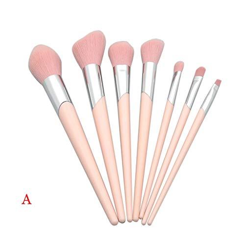 7 pièces Ewendy Tube à bouche biseautée Poignée en plastique Pinceau de maquillage pour les yeux rose (A)