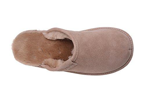 Calde Pantofole Scamosciate da Donna in Lana di Pecora Beige