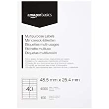 AmazonBasics Multipurpose Address Labels, 48.5mm x 25.4mm, 100 Sheets, 40 Label per Sheet, 4000 Labels