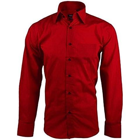 Camisa para hombre con corte clásico modelo JUSTIN – Moda y tendencia masculina mws2323 (ROJO - TALLA