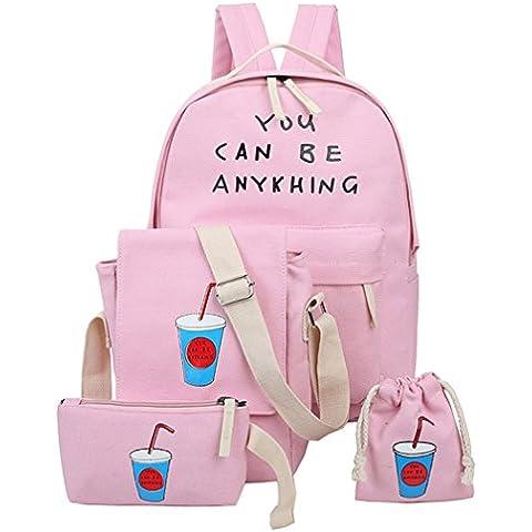 Happy Cherry - (Set/4 Piezas) Mochila Escolar Bolso Bandolera Bolsa Bolsita para Mujer Chica Estudiantes Viaje -