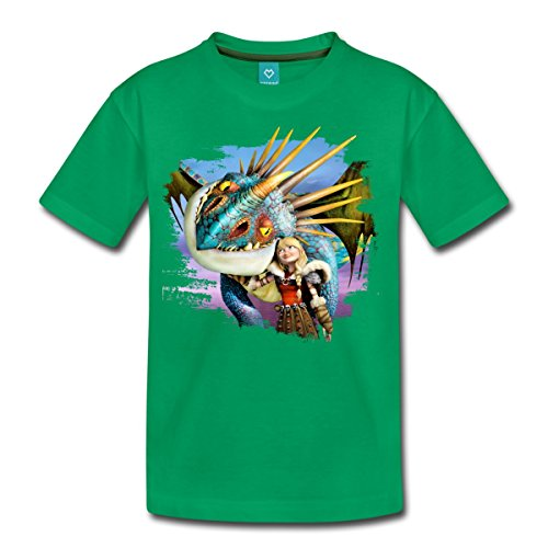 Spreadshirt DreamWorks Dragons Drachenzähmen Astrid Und Sturmpfeil Teenager Premium T-Shirt, 158/164 (12 Jahre), Kelly Green -