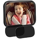 EletecPro Baby Rücksitzspiegel mit Sonnenschutz Auto mit UV Schutz (2 Stück), Autospiegel Baby, 360°schwenkbar, für Baby Kinderbeobachtung und Selbsthaftende Autosonnenblende Sonnenschutzrollos