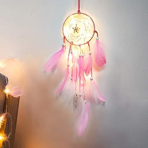 FeiliandaJJ Lichterkette für Dekoration, handgefertigt, 2 m, 20 LEDs, Traumfänger, Schlafzimmer, romantische Dekoration für Auto, Wandbehang, rose, 5 m