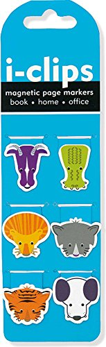 Animal I-Clips Magnetic Page Markers (Set of 6 Magnetic Bookmarks)