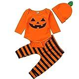 Säuglings-Baby-Kleinkind-Jungen-Mädchen-Langer Hülsen-Kürbis-Spielanzug-Hut mit Gestreifter Pant Halloween-Kostüm (Orange, 0-3 Months)
