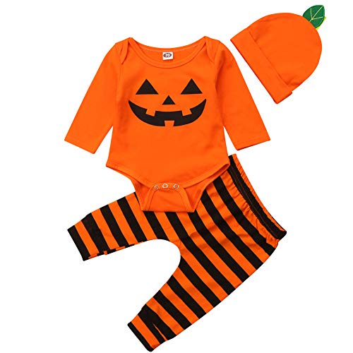 Säuglings-Baby-Kleinkind-Jungen-Mädchen-Langer Hülsen-Kürbis-Spielanzug-Hut mit Gestreifter Pant Halloween-Kostüm (Orange, 3-6 Months)