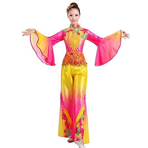 Gtagain Chinesischer Nationaltanz Set Bekleidung - Langarm Frauen Bestickt Fan Dance Bühnenperformance Weich Komfort Kostüm
