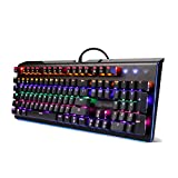 RGB Compact Mechanical Keyboard Backlit RGB LED Ergonomic Wrist Rest 104 Key Silent