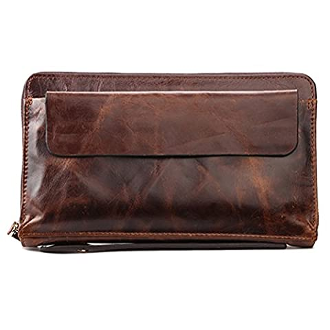 Zhhlaixing Cadeau Halloween Mens father's Soft Cowhide Leather Long Money
